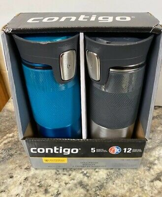 Contigo Travel Mug 2 Pack Aqua Blue Gray Autoseal Spill Proof Cover 16 Oz NEw (b