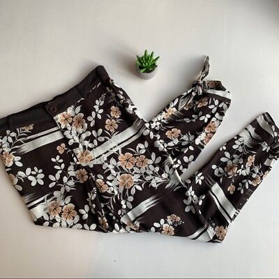 womens Anthropologie Elevenses floral joggers, tie ankle, size Small, brown
