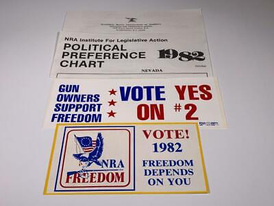 1982 NRA BUMPER STICKER LOT -- Vote! NRA FREEDOM Vote Yes On #2 Gun Laws Nevada
