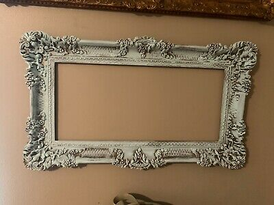 Vintage Frame Ornate French Style Shabby Chic Wall Decor Hollywood Pale Blue