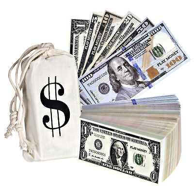 Playing Money Double Sided Dollars Paper Sack Pretend Wallet that Looks Real