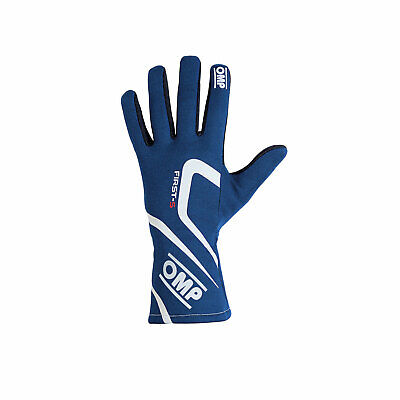 OMP FIRST-S MY18 Blue Racing Gloves (FIA) - Genuine - M
