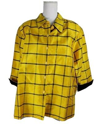 Linea By Louis DellOlio Womens Button Front Shirt Yellow Plaid 100% Silk XL New
