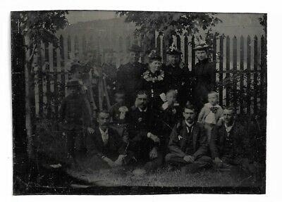 Antique Tintype Photo Large Outdoor Group Shot 19th Century