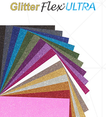 GlitterFlex ® Ultra Iron-On Glitter Heat Transfer Vinyl (HTV) for T-Shirts 12""