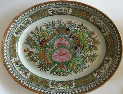 Large Antique Chinese Rose Medallion Platter with Butterfly Decoration