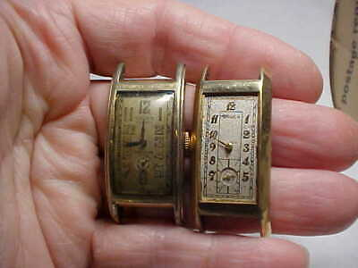 Lot Of Two Vintage Gruen Long Curve Case Watches 330 And 500 Models As Is For Pa
