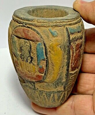 INTACT ANCIENT EGYPTIAN ROMAN ERA COLORED GLAZE STONE POT CIRCA 100-400 AD 82mm