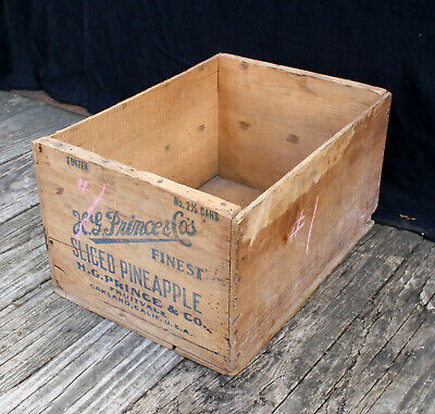 Antique Vintage Old Primitive Wood Wooden Shipping Storage Box Crate Container