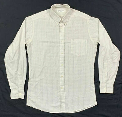 Yves Saint Laurent Mens Ivory Plaid L/S Button Down Dress Shirt Sz 15 A5