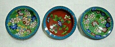Vintage Chinese Cloisonne Floral Trinket Dishes - Marked China