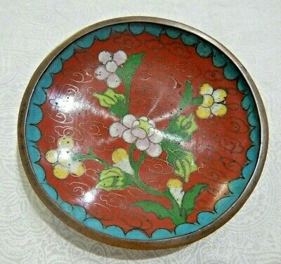 Vintage Chinese Cloisonne Floral Trinket Dish - Marked China
