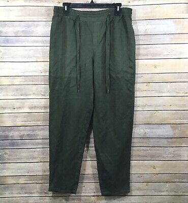 Eileen Fisher Elastic Waist Pull On Pants S Green Solid Slim Drawstring Pockets