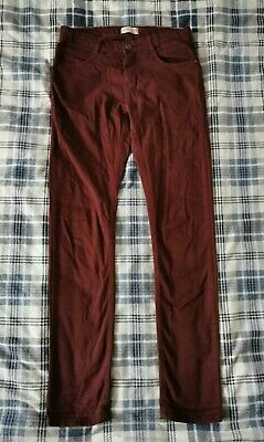 Boys Zara Jeans Age 11-12 Year. Burgundy. Straight Fit. Adjustable Waist.