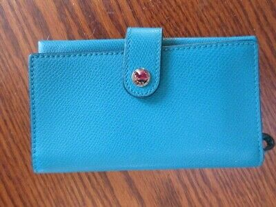 Coach F53977 Turquoise Cell Phone Wallet Leather Wristlet FREE SHIP NWT