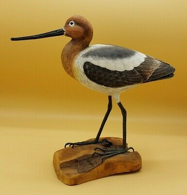 Realistic Nautical Decor Shore Bird Piper  Driftwood Base Hand Carved & Painted
