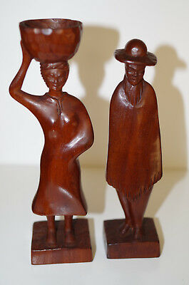 Two Vintage Hand Carved Teak Wood Figures, Man and Woman, Behage Paraguay