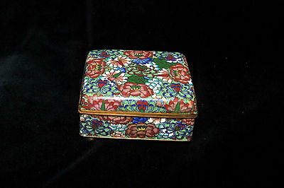 Fine Vintage Antique Chinese Cloisonne Enamel Floral Footed Box NICE