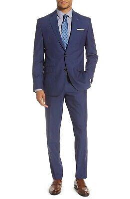 $750 Ted Baker London Jay Trim Fit 2 Button Wool Suit In Blue Size 44R