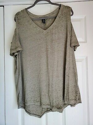 Style & Co. Woman 3X Sage Green Cold Shoulder Top