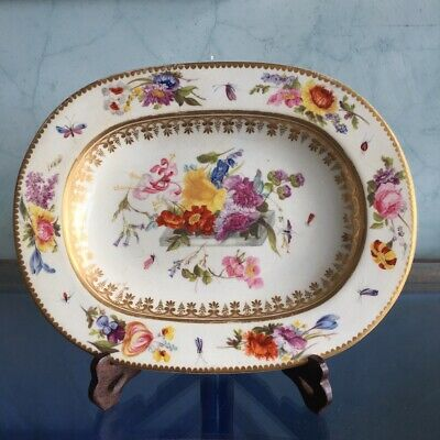 Derby rectangular dish, table of flowers & insects, c. 1820