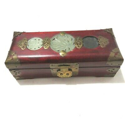 Vintage Chinese Rosewood Carved Jade Inlay Jewelry Box