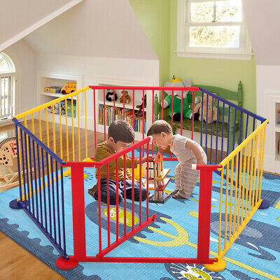 6 Panel Foldable Baby Playpen Safty Fence Kids Play Center Play Yard Wooden NEW