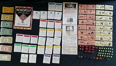 Vintage 1930's/40's Monopoly Pieces Wood Player Tokens & Dice Instructions Money