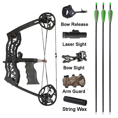 """16"""" Mini Compound Bow Set 35lbs Arrow Bowfishing Hunting Archery Right Left Hand"""