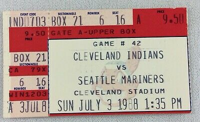 MLB 1988 07/03 Seattle Mariners at Cleveland Indians Ticket Stub-Kittle HR