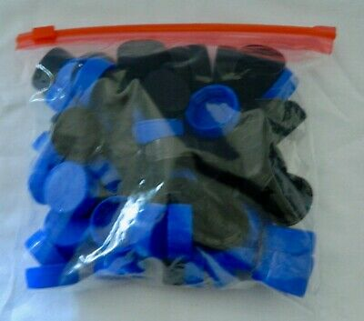 70 plastic (BLACK/BLUE) bottle top caps great for arts and crafts