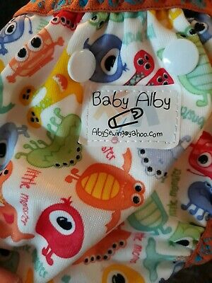 3 Newborn Rumparooz cloth diapers 7  baby ally and 13 washable liners pre-owned