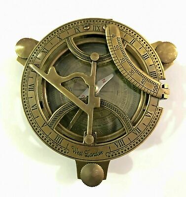 Antique Maritime Brass Sundial Compass Nautical Vintage Marine Working Sundial