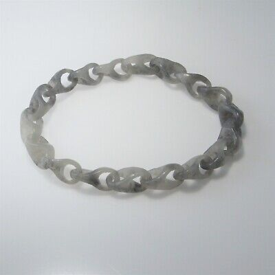 Antique Hand Carved Jade Bracelet Chain Link Unisex Gray Grey Nephrite Qing