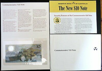 1988 $10 Bicentenary Polymer Note With Original Folder, Brochure & Envelope Aa12