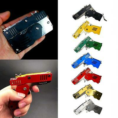 Rubber Band Gun Mini Metal Folding 6-Shot with Keychain and Rubber Band 100+ New