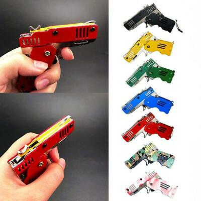 Rubber Band Gun Mini Metal Folding 6-Shot with Keychain and Rubber Band 100+ Hot