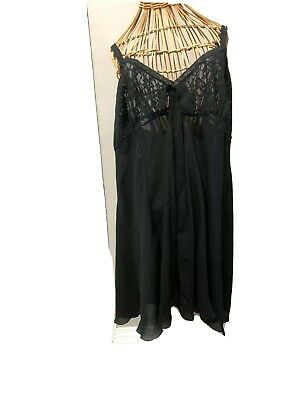 Solange Satin Nightgown Size 26/28 Black Lingerie , Sheer lace bust, semi sheer