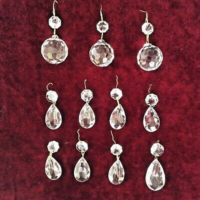 Lot Vintage Chandelier x3 Faceted Crystal Balls & x8 Pear Drops Spare Part Czech