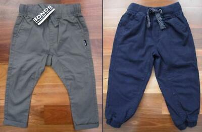 RRP $74.90 Two New Pairs Boys Size 3 Pants: BONDS & Pumpkin Patch (Green, Navy)
