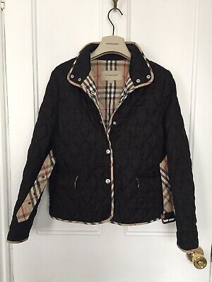 Burberry Quilted Black Jacket With Detachable Belt Age 14 Years