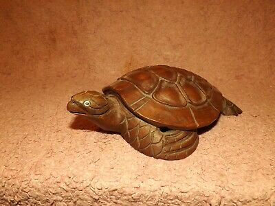 Old ? Wood Carved Sea Turtle Sculpture, Good Condition, 17.5Cm Long, 12.5Cm Wide