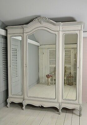 Antique French Louis XV Triple Knock Down Armoire (Grey) - Free UK Delivery!