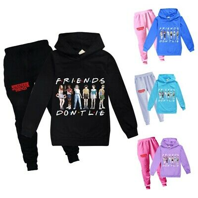 New Boys Girls Stranger Things Hoodies Kids Casual Hooded Tops Pants Outfits