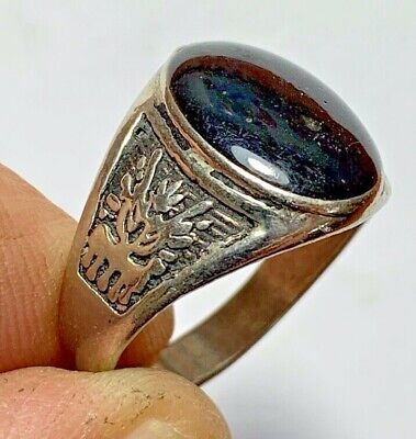 ANCIENT ROMAN SILVER RING WITH RARE BLACK STONE INTAGLIO  (inner 22mm)