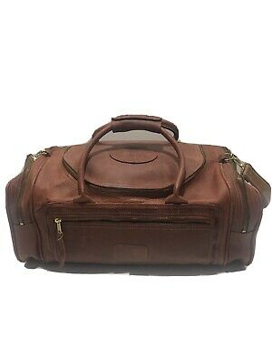 "Vtg Orvis Pebbled  Brown Leather Duffle Bag "" The Golf Club At Fiddlers Creek"""