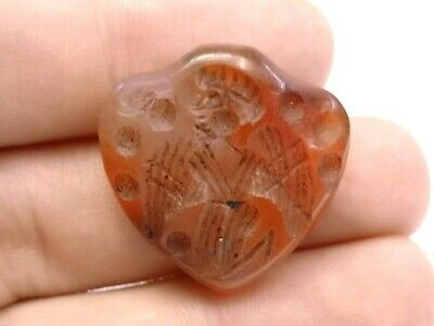 Antique Natural Agate Seal Cupid Engraved Intaglio Stamp Pendant Signet Bead