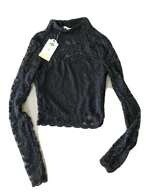 New Girls Blouse Size 8 Black Long Sleeved Lined Polyester Elastain Lace Top