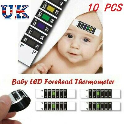 10Pcs FOREHEAD THERMOMETER MONITOR FEVER SCAN STRIP BABY ADULT CHECK TEMPERATURE