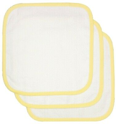 Baby Girl Boy Wash Cloths Towel Flannel Wipes Pack of 3 White Yellow